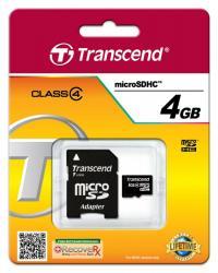Karta pamięci microSDHC 4GB Class4 19/5 MB/s + adapter