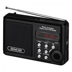 Sencor SRD 215 B KIESZONKOWE RADIO Z MP3,USB,SLOT NA KARTE SD BATERIA LITOWA DO 10 GODZ.