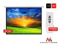 Ekran projekcyjny elektryczny MC-562 167 cali 1:1 300x300cm Sterowanie ścienne z pilota