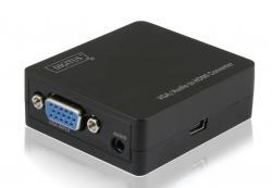 Konwerter sygnału VGA do HDMI, 1080p 60Hz FHD, HDCP 1.2, z audio (1xMiniJack)