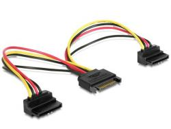 Kabel SATA zasilający (M)->2xSATA(F) kątowy 15cm