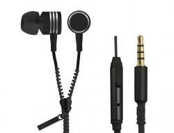 Słuchawki douszne ZIPPER z mikrofonem czarne