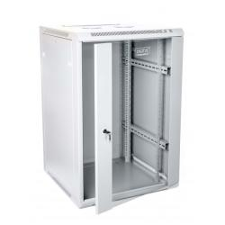 Szafa wisząca jednosekcyjna 19 15U 759/600/600mm, drzwi szklane, szara (RAL 7035), zmontowana