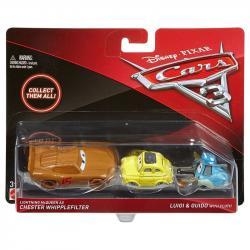 Mattel CARS 3 Dwupak Lightning McQueen as Chester Whipplefilter, Luigi & Guido with Cloth Die-Cast Vehicle