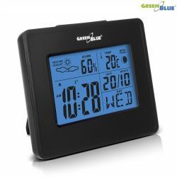 GreenBlue Stacja pogody zegar kalendarz fazy księżyca GB144 black