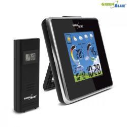 GreenBlue Stacja pogody bezprzewodowa IN/OUT temperatura wilgotność barmoter ładowarka USB GB145 Czarna
