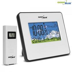 GreenBlue Stacja pogody bezprzewodowa DCF IN/OUT temperatura wilgotność fazy księżyca GB147W white