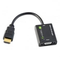 Adapter HDMI męski na VGA żeński, czarny, 10cm