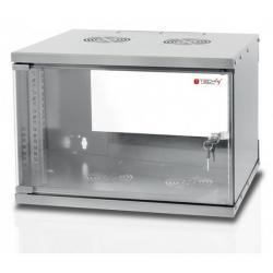 Szafa wisząca ECO 19cali 6U/320mm zmontowana, szklane drzwi, szara