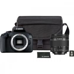 Aparat fotograficzny EOS 2000D BK + Obiektyw 18-55 IS EU26 VUK + Torba + Karta SD 16 GB 2728C013
