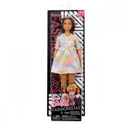 Mattel Lalka BARBIE Fashionistas kolorowa sukienka