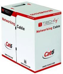 Kabel instalacyjny skrętka UTP Cat6 4x2 drut 100% miedź 305m szary
