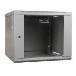 Szafa wisząca jednosekcyjna 19 9U 501/600/600mm, drzwi szklane, szara (RAL 7035)