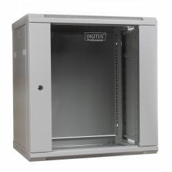 Szafa wisząca jednosekcyjna 19 12U 635/600/450mm, drzwi szklane, szara (RAL 7035)