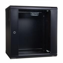 Szafa wisząca jednosekcyjna 19 12U 635/600/450mm, drzwi szklane, czarna (RAL 9004)