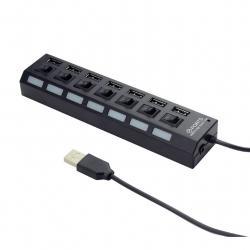 Hub USB 2.0, 7-portowy z przełącznikami, czarny