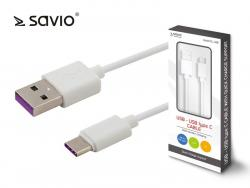 Kabel USB - USB typ C Quick Charge, 5A, 1m SAVIO CL-126
