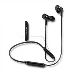Słuchawki magnetyczne sportowe, bezprzewodowe, dokanałowe, mikrofon, Long Life, BT, czarne
