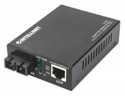 Media konwerter Gigabit PoE+ 1000Base-T RJ45/1000Base-LX (SC) SM 20km