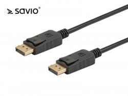 Kabel DisplayPort M - DisplayPort M Savio CL-135, wersja 1.2, 4K, pozłacane końcówki, 1m