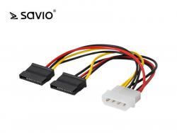 Kabel zasilający / adapter / rozdzielacz Molex 4 pin M - 2x SATA 15 pin F SAVIO AK-13 wielopak 10 szt.