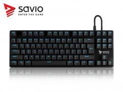 Klawiatura mechaniczna gamingowa Savio Tempest RX Outemu BLUE, LED niebieski, NKRO, Anty-ghosting