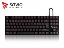 Klawiatura mechaniczna gamingowa Savio Tempest RX Outemu RED, LED czerwony, NKRO, Anty-ghosting