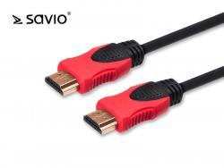 Kabel HDMI-HDMI 2.0, OFC, SAVIO CL-141, złoty, 3D, 4Kx2K, miedź, 10m, blister