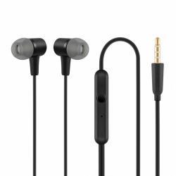 Słuchawki z mikrofonem douszne czarne HE20
