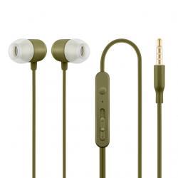 Słuchawki z mikrofonem HE21K douszne khaki