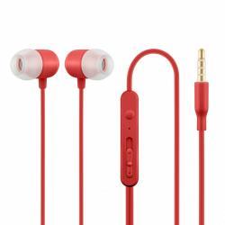 Słuchawki z mikrofonem douszne czerwone HE21R