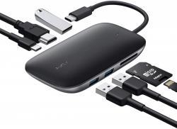 CB-C68 aluminiowy HUB USB-C | 7w1 | 3xUSB 3.1 | HDMI 4k@30Hz | SD i microSD | USB-C Power Delivery 100W