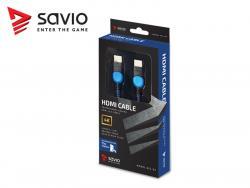 Kabel HDMI-HDMI v2.0, OFC, miedź, 3D, gamingowy, PLAYSTATION, niebiesko-czarny, oplot, 4K, 1.8m SAVIO GCL-02