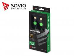 Kabel HDMI-HDMI v2.0, OFC, miedź, 3D, gamingowy, XBOX, zielono-czarny, oplot, 4K,, 1.8m SAVIO GCL-03