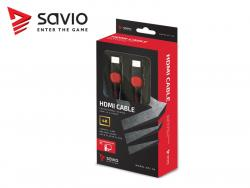 Kabel HDMI-HDMI v2.0, OFC, miedź, 3D, gamingowy, PC, czerwono-czarny, oplot, 4K, 3.0m SAVIO GCL-04