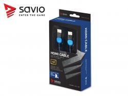 Kabel HDMI-HDMI v2.0, OFC, miedź, 3D, gamingowy, PLAYSTATION, niebiesko-czarny, oplot, 4K, 3.0m SAVIO GCL-05