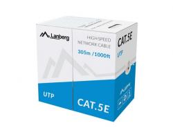 Kabel UTP Kat.5E CCA 305m drut niebieski LCU5-10CC-0305-B