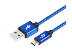 Kabel USB-USB C 2 m niebieski sznurek