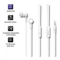 Słuchawki dokanałowe | mikrofon | białe