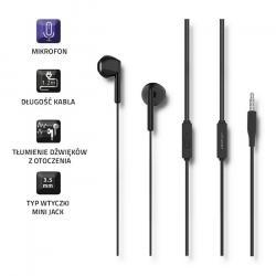 Słuchawki douszne | mikrofon | czarne