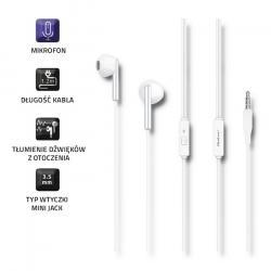 Słuchawki douszne | mikrofon | białe