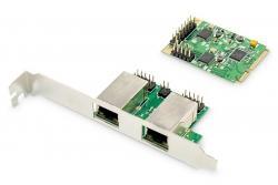 Karta sieciowa przewodowa mini PCI Express 2x RJ45 Gigabit 10/100/1000Mbps Low Profile