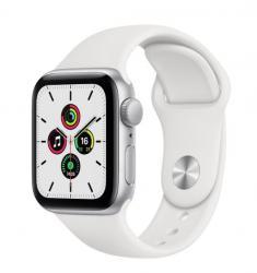 Apple Zegarek SE GPS + Cellular, 40mm koperta z aluminium w kolorze srebrnym z białym paskiem sportowym- Regular
