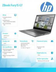 Laptop ZBook Fury15 G7 W10P i7-10750H/256/16 119X9EA