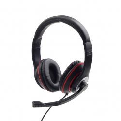 Słuchawki nauszne z mikrofonem MHS-03-BKRD czarno-czerwone