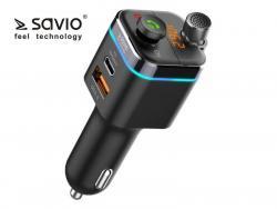 Transmiter FM SAVIO TR-12 z Bluetooth 5.0. Funkcja zestawu głośnomówiącego i ładowarki Power Delivery i QC 3.0