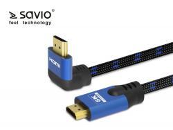 Kabel HDMI-HDMI v2.1, 3m, 8K, kątowy, OFC, Miedź, Złote końcówki, Ethernet/3D CL-148 SAVIO Niebiesko-czarny