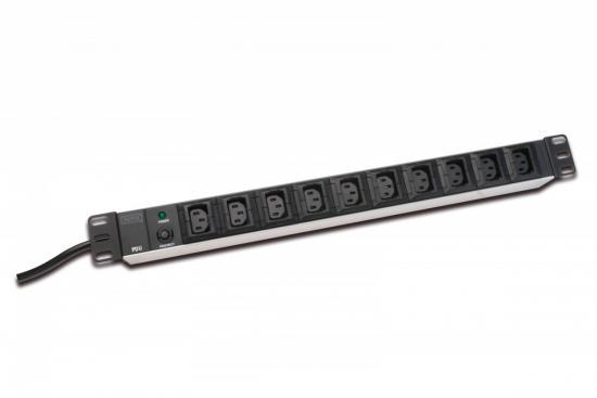 Listwa zasilająca PDU 19 cali RACK 10xC13, 2m 1xC14, 10A aluminiowa
