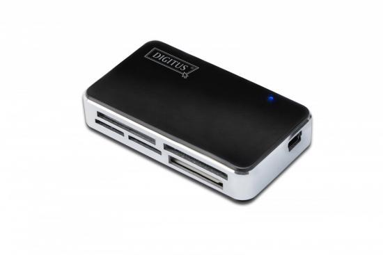 Czytnik kart 5-portowy USB 2.0 HighSpeed (ALL-IN-ONE), HQ, czarno-srebrny
