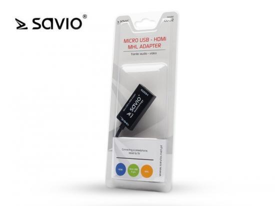 Aktywny adapter MHL micro USB 5 pin - HDMI AF SAVIO CL-32